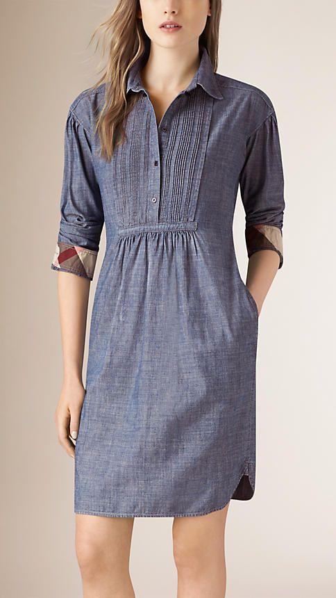 Light indigo Pintuck Detail Denim Tunic Dress - BURBERRY