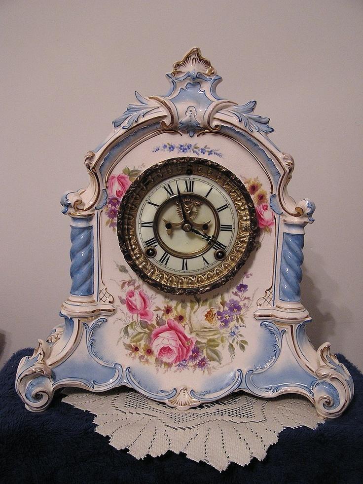 "Ansonia Clock Co., ""La Verdon"", Royal Bonn china clock Circa 1901"