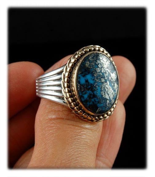 Morenci Turquoise in Silver and Gold by John Hartman of Durango Silver Company
