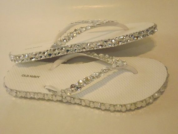 Rhinestone Bling Flip Flops Bridal Wedding on Etsy, 126.40₪