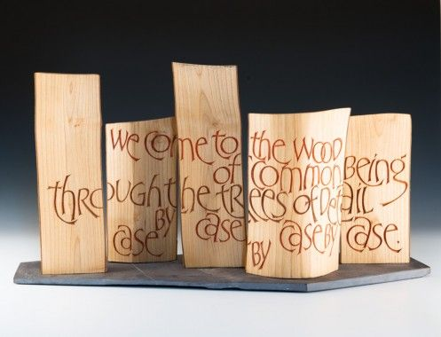The Wood and the Trees by Martin Wenham. 35 x 66 x 23 cm. Ash-wood, acrylic and slate.Text from Same Psalm by Philip Gross