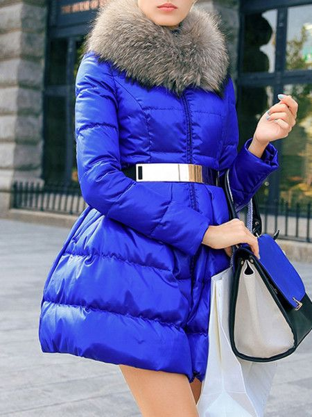 Deep Blue Paneled White Goose Feather Down Coat