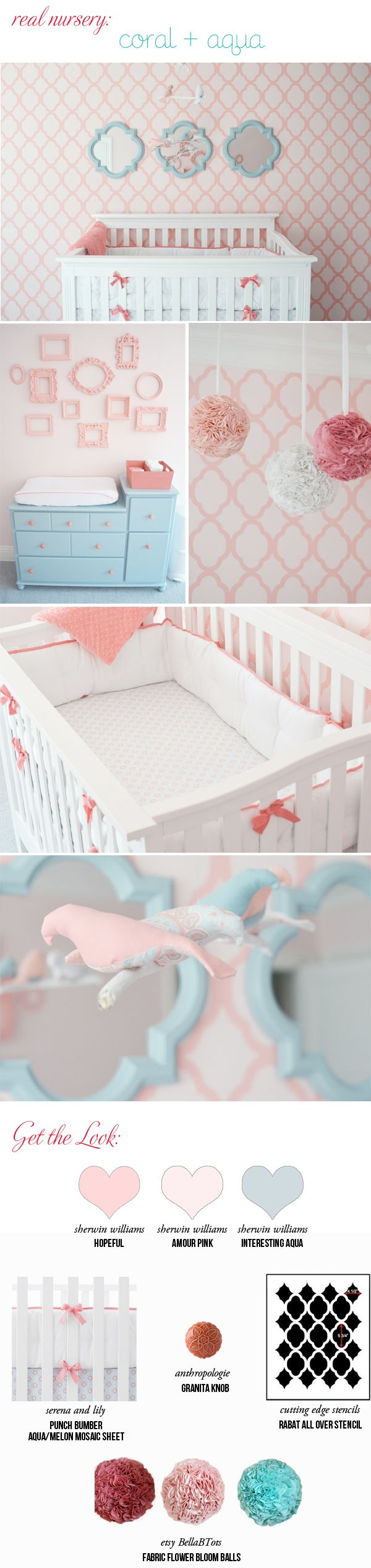 Coral and Aqua Real Nursery ~deeper tones but I like how the colors are mixed and shades are used