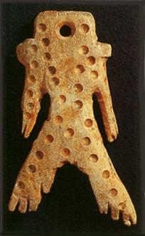 bone figurine. Jomon-era. BC.2,500 - BC.1,200. Hokkaido Japan.