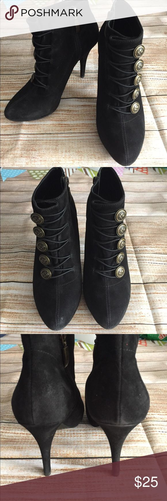Guess military type black ankle booties Stunning - perfection for any outfit - love these! Clean; no major indications of wear Guess Shoes Ankle Boots & Booties