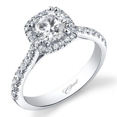 Coast Cushion Halo Prong Set Diamond Engagement Ring 14K White Gold wi · LC5256 · Ben Garelick Jewelers