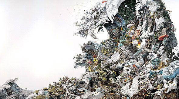 池田学「予兆」 2008年 紙にペン、インク 190x340cm