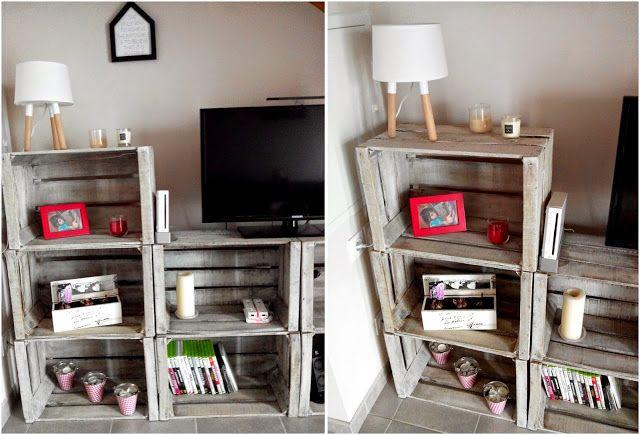caisse en bois, DIY, effet blanchi, meuble TV, bullelodie http://www.bullelodie.com/2015/06/do-it-yourself-meuble-tv-avec-caisses.html
