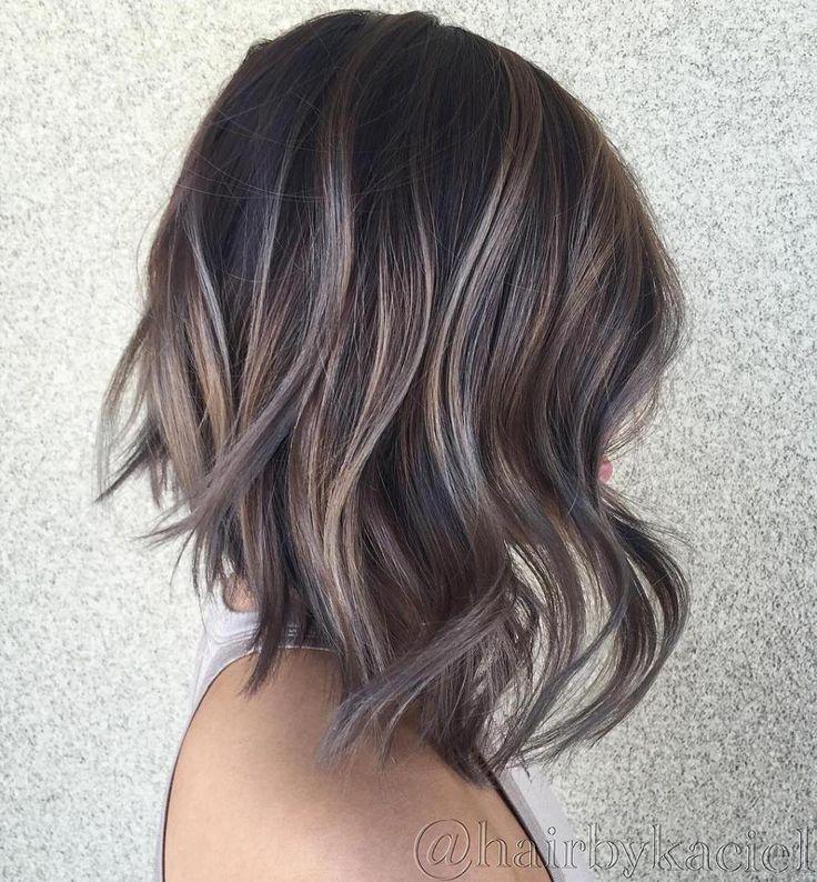 Les 25 meilleures id es de la cat gorie cheveux brun cendr sur pinterest couleur de cheveux - Balayage gris sur brune ...