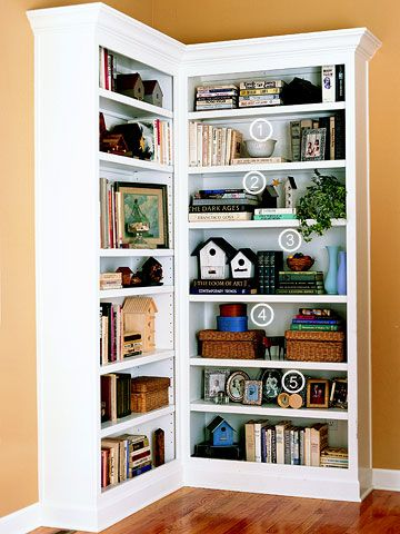 I never thought about putting bookcases in a corner like this.