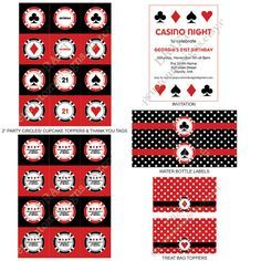 DIY -  Printable: Casino Night Party Set -  11 items (invitation, party circles, water bottle labels, banner and more)