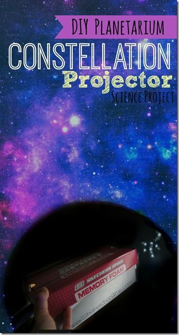 Constellation Projector - a fun science project for kids to see star in a diy planetarium at home. Includes free printable constellation mini book to use to make constellations on your wall. (homeschool, science activity, solar system, planets, kindergarten, first grade, second grade, third grade, fourth grade, fifth grade, sixth grade)