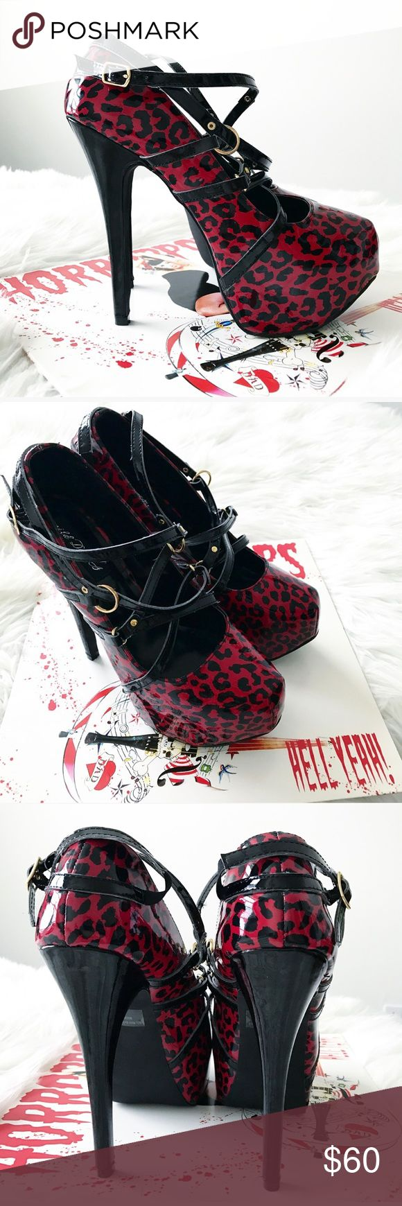 Red & Black strappy Leopard Glam Rocker Heels 8 New with box! Red leopard animal print strappy high heels by Wild DNA . Stilettos have a shiny appearance. Size 8 #platforms #platform #80s #rocker #glam #hair #metal #rocknroll #goth #rock #and #roll #gothic #1980s #punk #jem  #holograms #the #misfits Shoes Heels