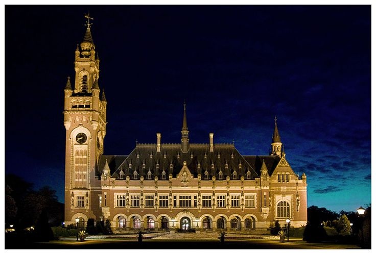 The Peace Palace, the Hague, Netherlands - often called the seat of international law because it houses the International Court of Justice (which is the principal judicial body of the United Nations), the Permanent Court of Arbitration, the Hague Academy of International Law, and the extensive Peace Palace Library.