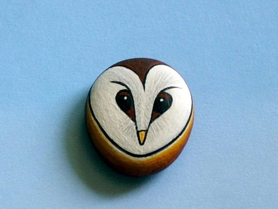 Barn Owl miniature art painting fashion adjustable silver ring painted rock by RockArtiste, $25.00