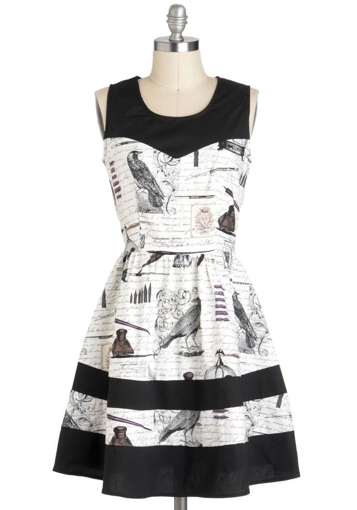 Nevermore Lovely Dress. Once upon a midnight, you are clearly the most exception maven as you wear this raven-esque A-line dress.  #modcloth