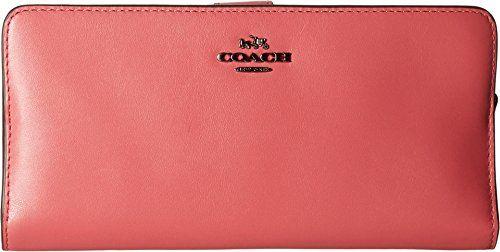 COACH Women's Madison Leather Skinny Wallet DK/Rouge Clutch