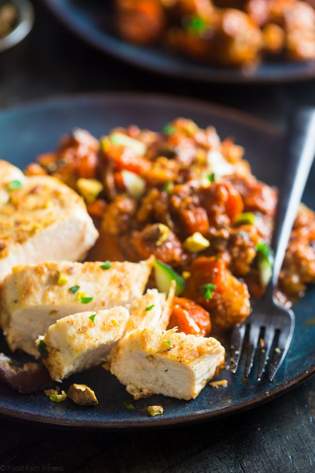 Whole30 Moroccan Chicken Skillet + a How-To Video - This quick and easy one-pan, 30 minute Moroccan chicken skillet is LOADED with spicy-sweet flavor. It's a gluten free, paleo and whole30 friendly weeknight dinner! | Foodfaithfitness.com | @FoodFaithFit