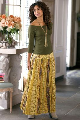 I like the swing and detail of this skirt.  I typically wouldn't wear this much yellow.  Love the top as well (fit and color).  Sunset Skirt II from Soft Surroundings
