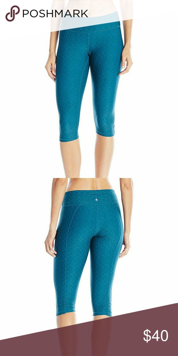 Prana Misty Knicker's Legging NWOT. Teal colored Knicker's with jacquard print by Prana. Very comfortable pants. I have them in 3 other colors in this style and am obsessed, but this color looks blah with my skin tone. Tried on, but not worn. Prana Pants Leggings