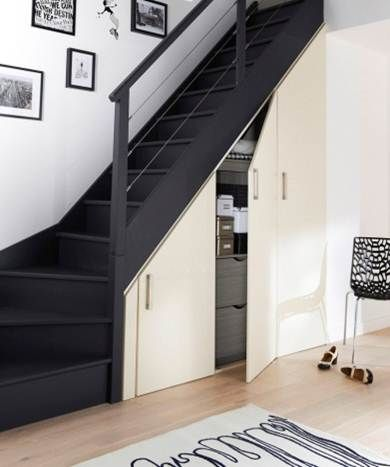 Collection placard aménagements sous combles et sous escaliers – modèle Déclic battant sous-escalier Ne cherchez plus à tout prix à faire de la place, nous vous l'offrons ! Jouez avec la profondeur avec cet espace innovant sous escaliers. Discret et pratique, le modèle à portes battantes est un aménagement de placard sous escalier classique, à réaliser sur mesure. Vous pouvez y installer de nombreuses étagères pour un rangement toujours plus efficace…