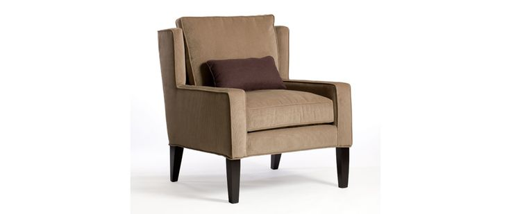 """Lindsay Fabric: Toro Cocoa Includes one kidney pillow 20"""" x 10""""  CHAIR (as shown) Length (overall) 31"""" Length (inside) 23"""" Depth (overall) 33"""" Depth (seat) 21"""" Height (overall) 38"""" Height (arm) 23"""" Height (seat) 21"""""""
