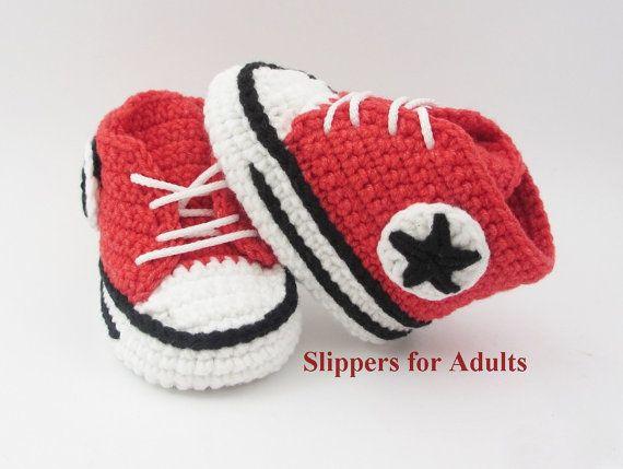 Crochet ganchillo Converse adultos zapatos zapatillas por Yunisiya
