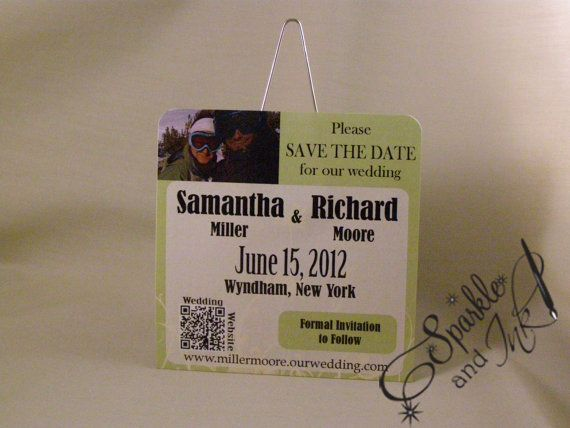 Ski Lift Ticket Save the Date by sparkleandink on Etsy