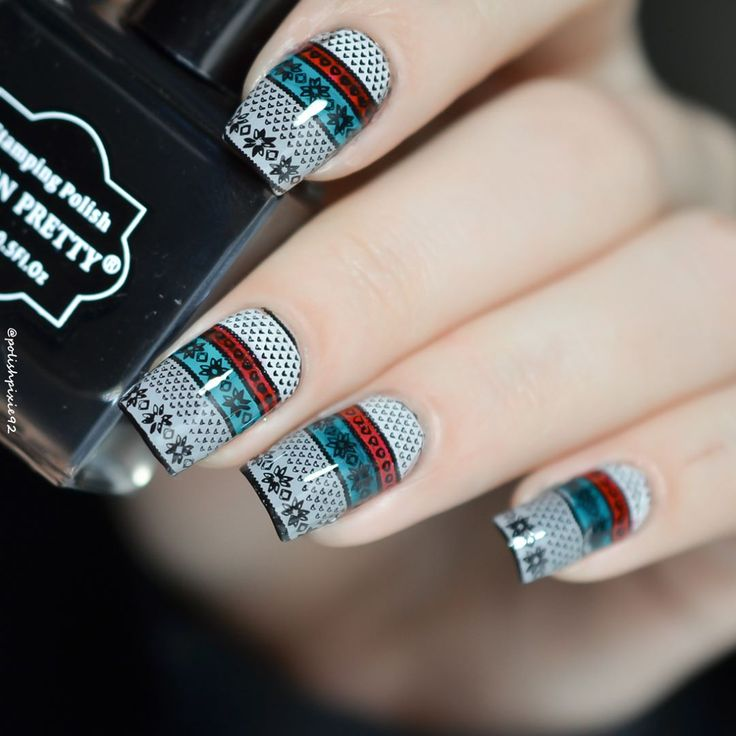 BORN PRETTY stamping nails, do you like this cool style? More details shared in bornprettystore.com