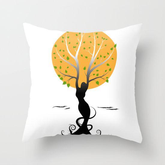 Woman tree Throw Pillow