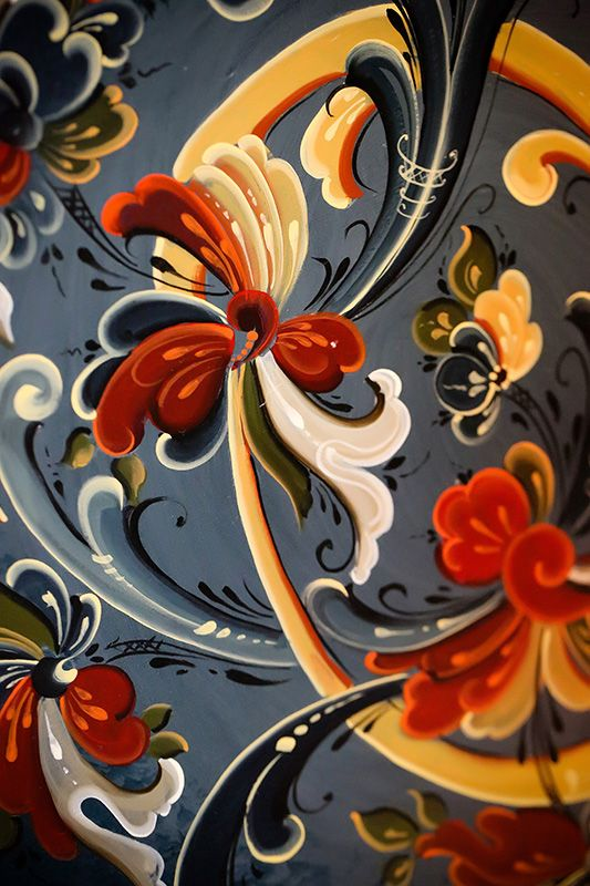 """Norsk Høstfest wouldn't be a Scandinavian festival without having Rosemaling! Norwegian for """"decorative painting"""", rosemaling is time consuming work and beautiful to display in anyone's home. Norsk Høstfest, North America's largest Scandinavian festival, is held every fall in Minot, ND. www.hostfest.com"""