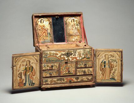 English Maker -- Casket with Embroidered Panels, 17th Century -- High quality reproduction art prints, canvases, postcards, greeting cards -- Fitzwilliam Museum Prints