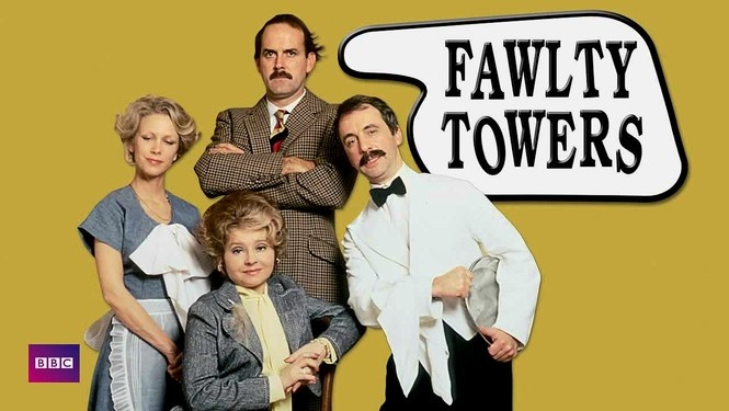 fawlty towers Fawlty towers (1975-1979) was a bbc television sitcom about hotel owner basil fawlty's incompetence, short fuse, and arrogance that form a combination that ensures accidents and trouble are never far away written by john cleese and connie booth.