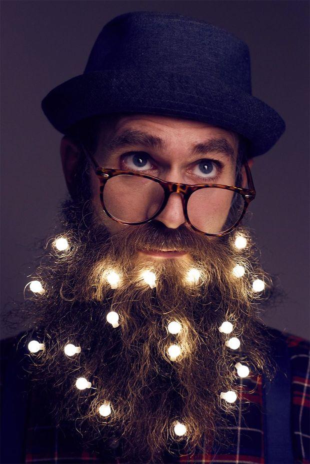 Even better than beard ornaments. Illuminate your beard for Christmas!