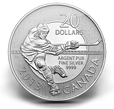 USD 20 Fine Silver Coin - Hockey (2013) | This silver commemorative coin captures the intensity, power and excitement of Canada's national pastime. The perfect gift for fan and player alike.