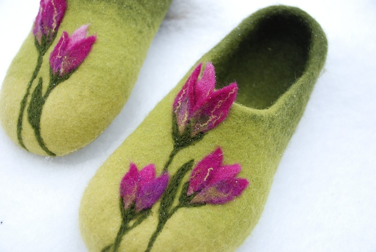 Purple Tulips - handfelted  green slippers/ home shoes HANDMADE TO ORDER. $68.00, via Etsy.