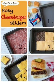 {Cheeseburger Sliders}... MEAT: Combine 2 lbs beef, .25 c bread crumbs, .75 onion, and salt....  Gently press mixture into a 9-by-13-inch pan so that it makes one large patty of even thickness... 400/30 mins... Top with cheese... Back in oven til cheese melts... Assemble as shown in pic