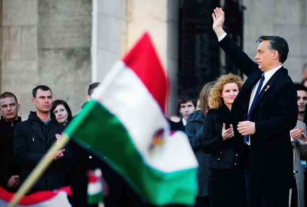 """We won't be a colony,"" Orban told the crowd at Kossuth Square outside the parliament building, his 27-minute speech often interrupted by cheers. ""Hungarians won't live according to the commands of foreign powers, they wont give up their independence or their freedom."" 15th March 2012"