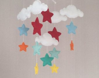 Bebé móvil carrusel pájaro móvil nube móvil niña por EllaandBoo