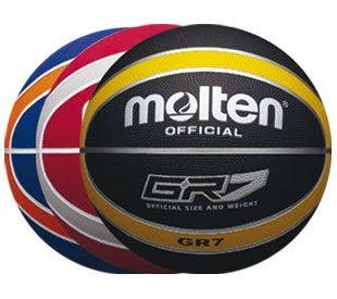 Balón Molten BGR, Balón de Basketball. Cubierta de goma. Nuevo modelo 12 cascos. Tamaño y peso oficial. Disponible: Nº 7, 5, 3. Negro/Amarillo Rojo - Azulino/Naranja - Rojo/Plata.