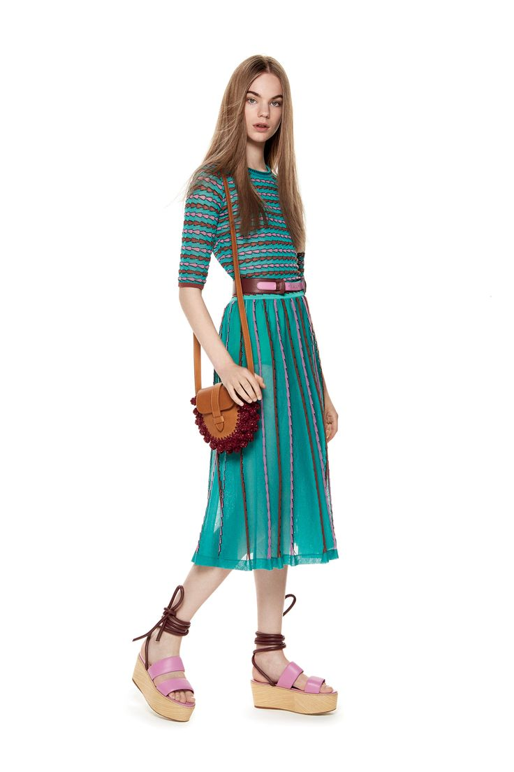 M-Missoni - KNIT TOP & SKIRT WITH TRIANGLE MOTIF
