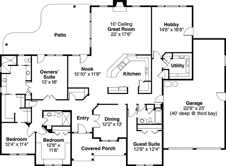 Ranch Style House Plans 3000 Square Foot Home 1 Story