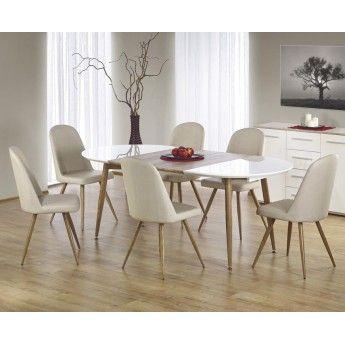 Белый лакированный раздвижной обеденный стол на металлических ножках. Бесплатная доставка по Беларуси. Рассрочка.