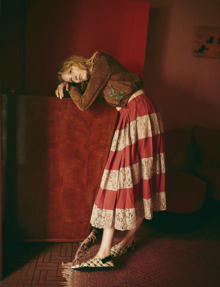Alisa Ahmann by Serge Leblon for Vogue China December 2015 - Gucci Resort 2016