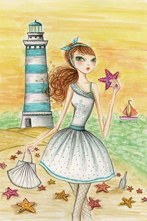 """""""Ahoy Lola by the Lighthouse"""" By Bella Pilar Canvas Print #BPR4"""