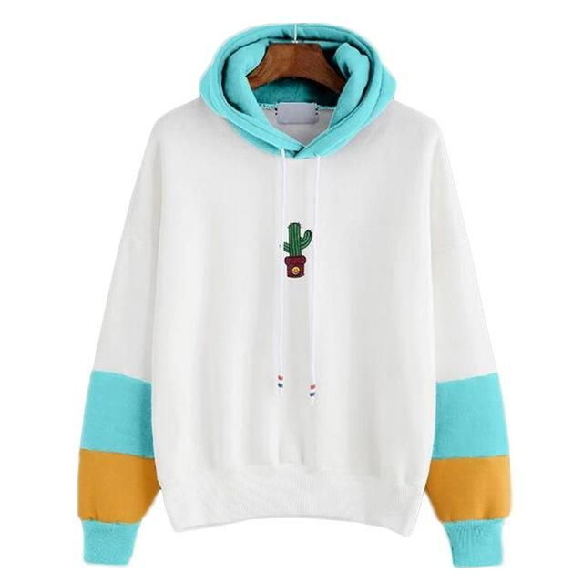 Cactus Printed Oversized Hoodie Female Long Sleeve Hoodies Sweatshirts Harajuku Feminina Women Clothing 2018 Sky Blue XL