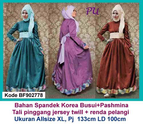 Baju Gamis Modern Terbaru - Detail produk model baju Gamis pesta renda rainbow 778: Bahan : Spandek korea kombinasi renda rainbow Kode : BF902778 Ukuran : Allsize fit to XL, Panjang 1