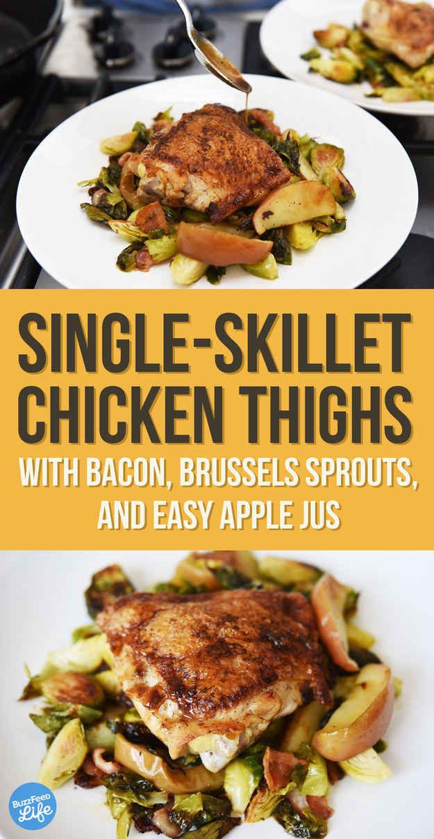 Single Skillet Chicken Thighs with Bacon, Brussels Sprouts  Minus the thigh, but use breasts