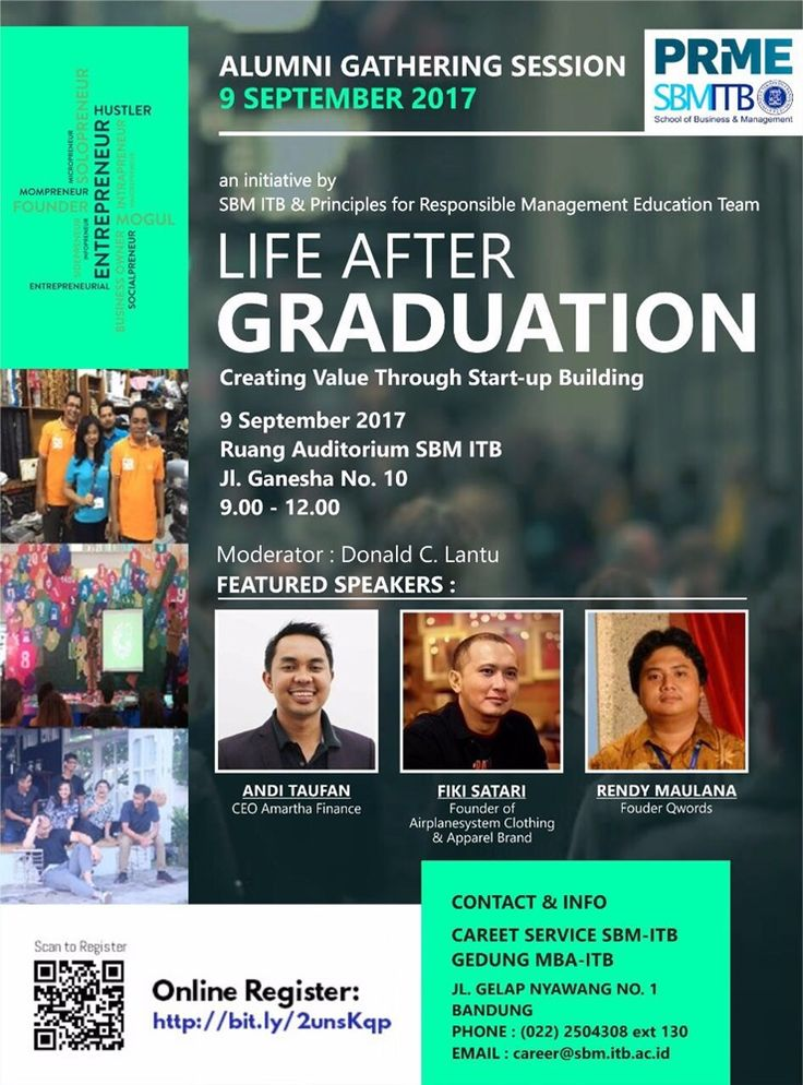 """JOIN! SBM ITB: Alumni Gathering Session """"LIFE AFTER GRADUATION - Creating Value Through Start-Up Building"""",  Info >> http://bit.ly/2unsKqp"""