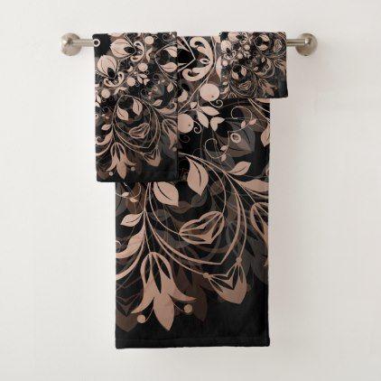 Rose Gold Black Floral Mandala Bath Towel Set - home gifts ideas decor special unique custom individual customized individualized
